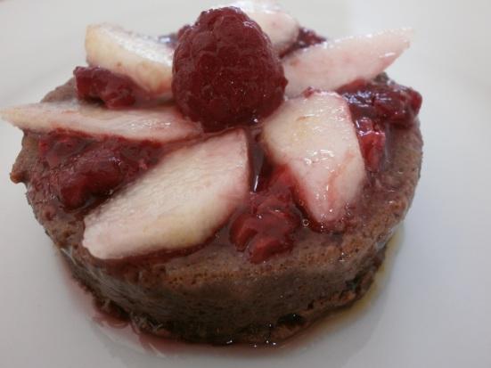 paleo chocolate cake with raspberries