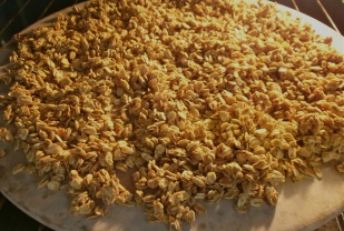 Granola on Baking Stone