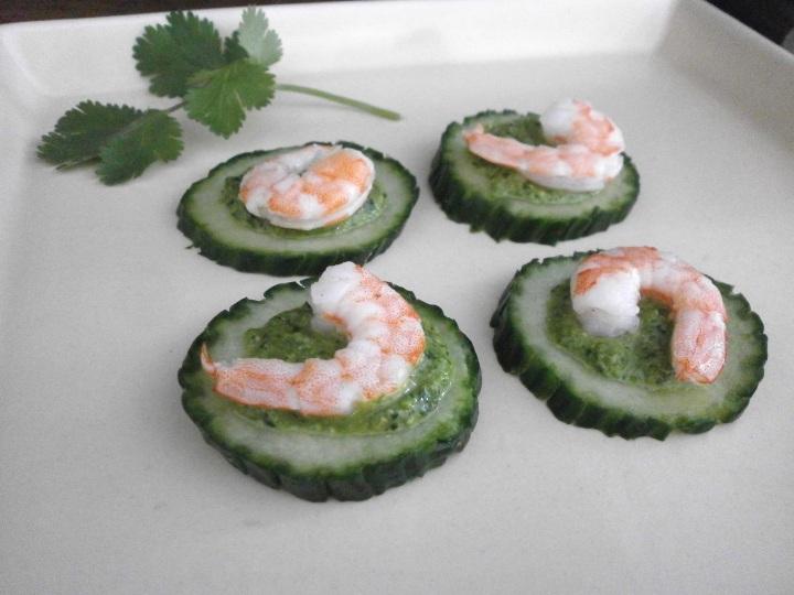 pesto shrimp bites