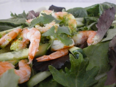 shrimp salad with pesto