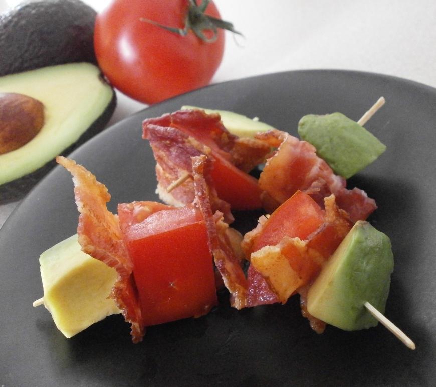 Bacon, Avocado, Tomato Kebabs