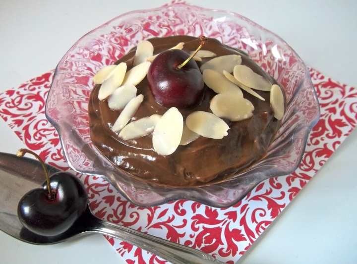 Cherry chocolate pudding with almond topping