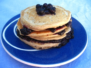 Blueberry Peach Buckwheat Pancakes