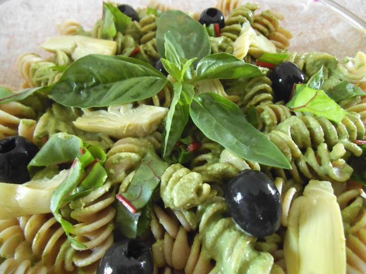 pesto pasta salad with olives