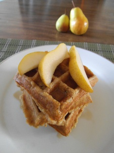 Waffles made with pears and ginger