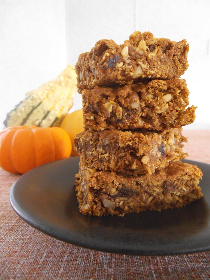 Dairy Free Oat Bars made with Pumpkin, Spelt Flour and Dates
