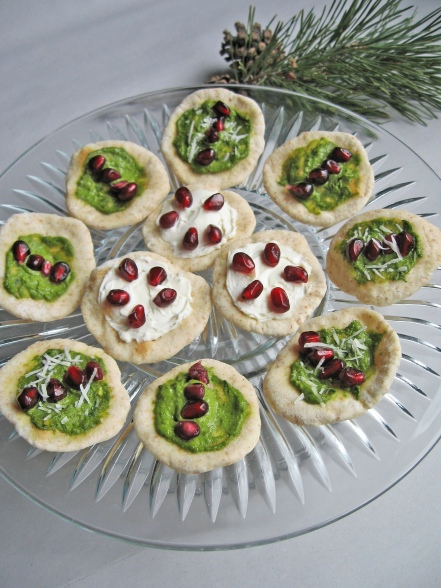 Pomegranate and Pesto Bites