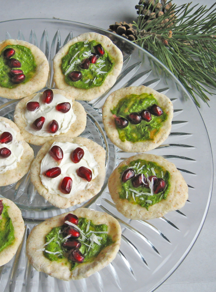 Red Pomegranate and Green Pesto Bites