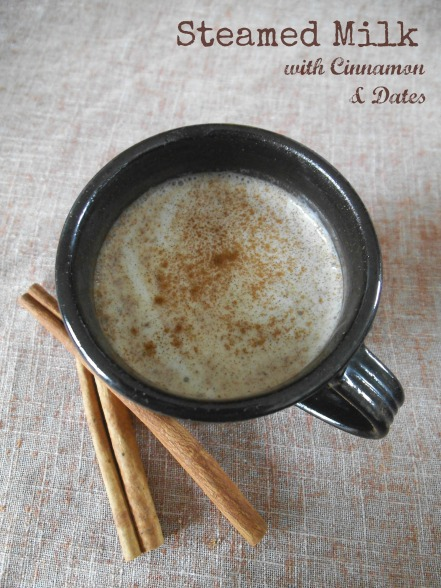 Steamed Milk with Cinnamon and Dates