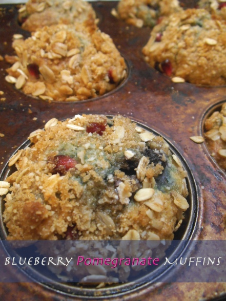 Blueberry Pomegranate Muffins with Crumb Topping