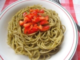 Red Pepper and Green Pesto Pasta