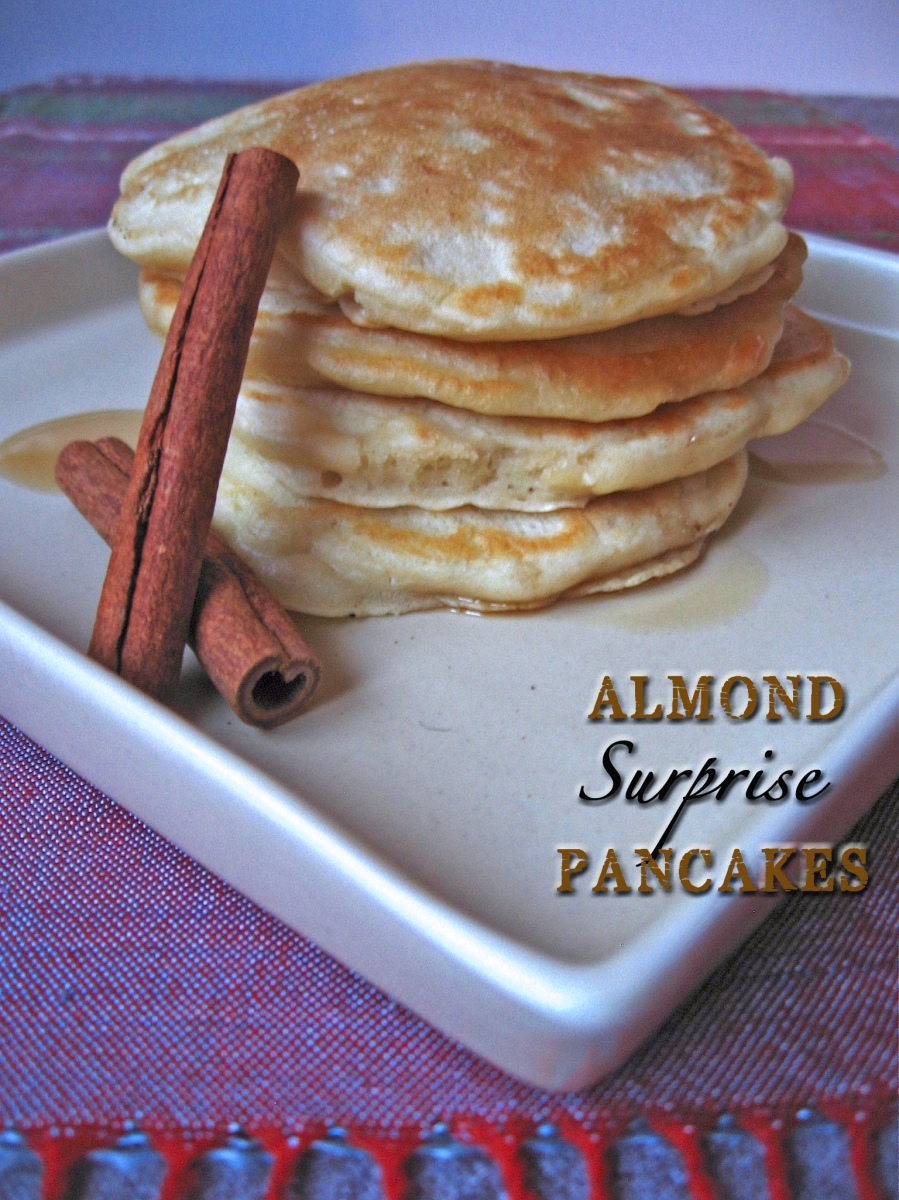 Almond Surprise Pancakes with Cinnamon Maple Syrup