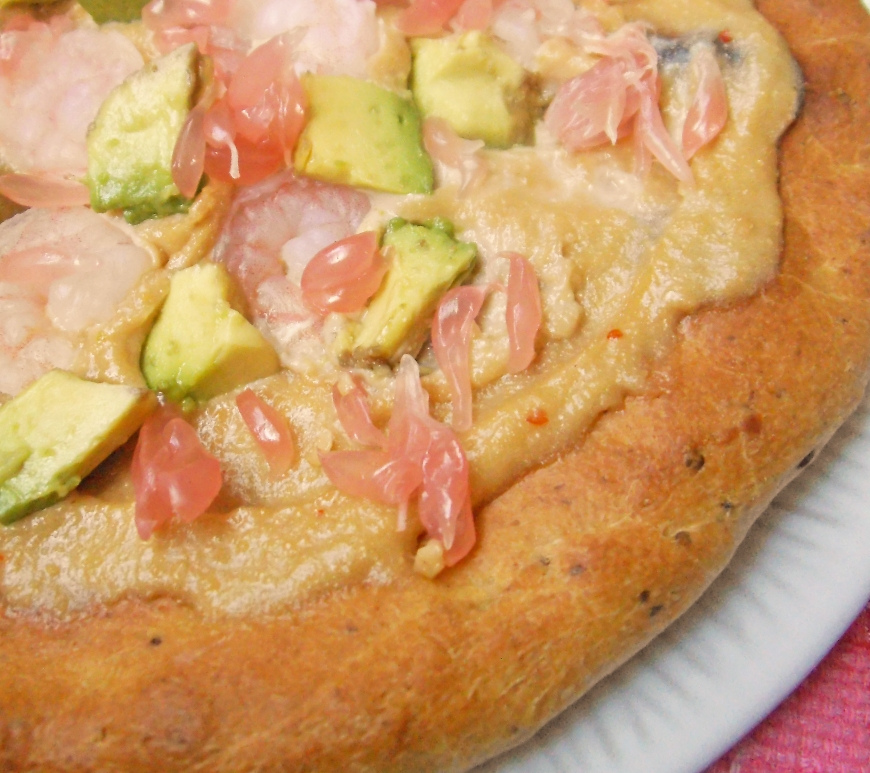 Dairy-Free Pizza with Pink Pomelo, Shrimp and Avocado