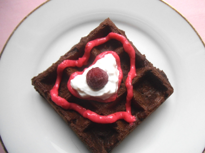 Chocolate Waffle with Pink Raspberry Frosting