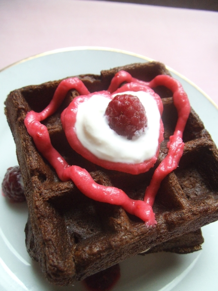 Chocolate Waffles with Pink Raspberry Frosting