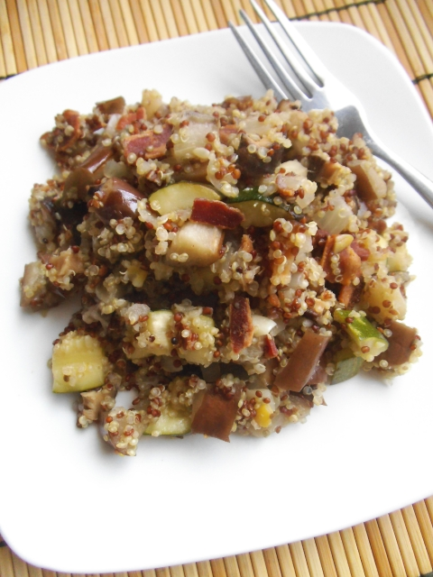 Savoury Quinoa Pilaf with Roasted Zucchini, Eggplant, Bacon, and Mushrooms