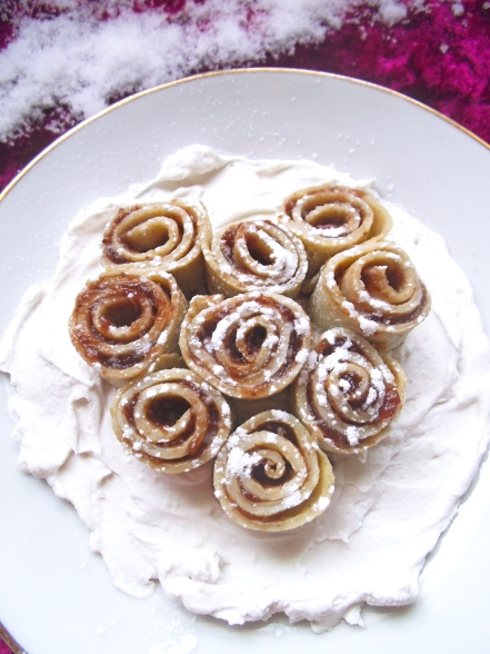 Rosette Crepes with Whipped Cream Snow