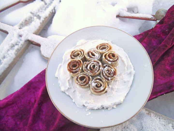 Roses in the Snow Crepe Rolls on a Snowy Sled