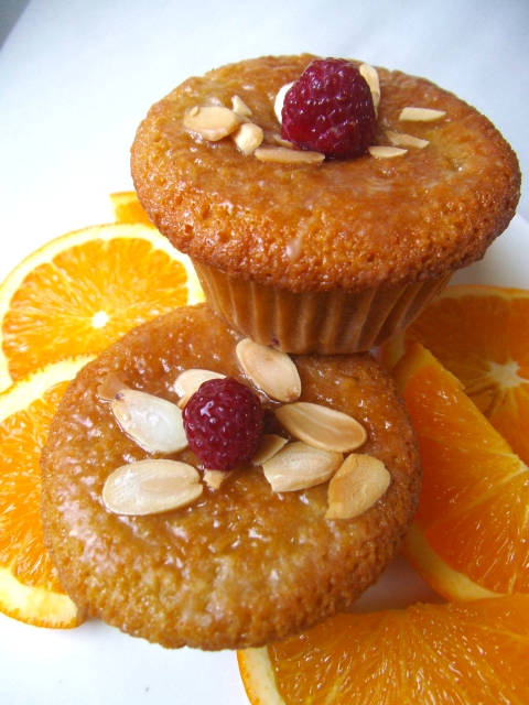 Raspberry Orange Almond Muffins with Orange Glaze