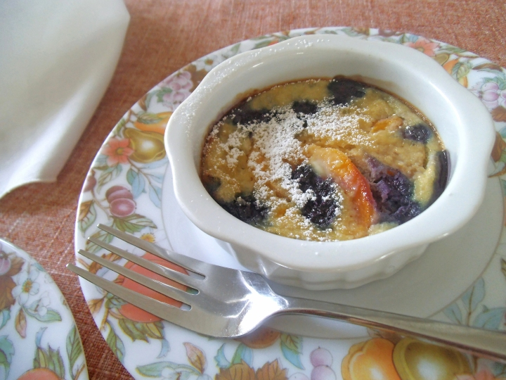 Blueberry Peach Clafoutis made with Almond Flour