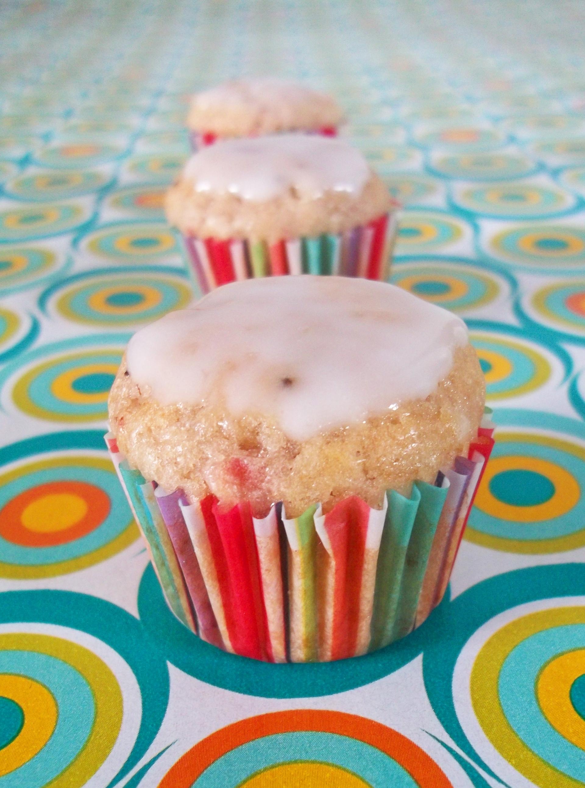 Trio of Strawberry Kiwi Muffins with Lemon Glaze