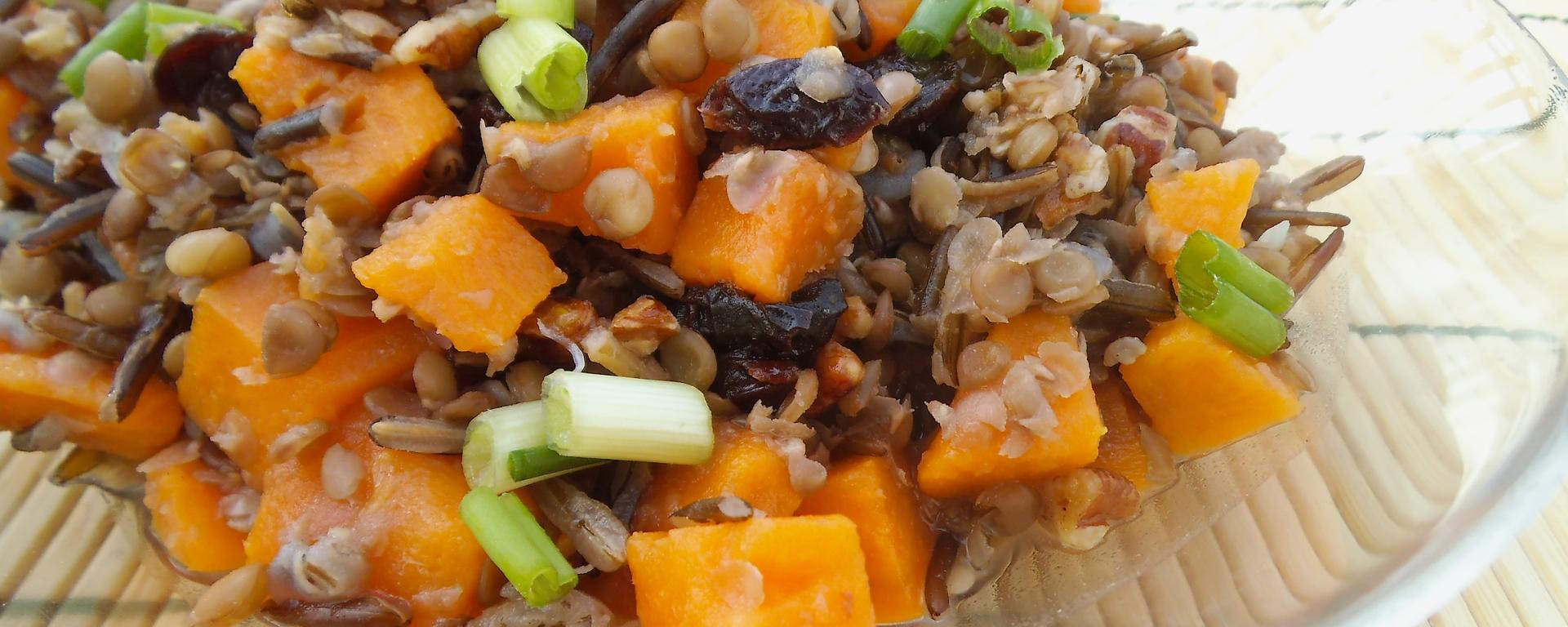 Lentil, Wild Rice, and Sweet Potato Salad with Orange Pecan Dressing