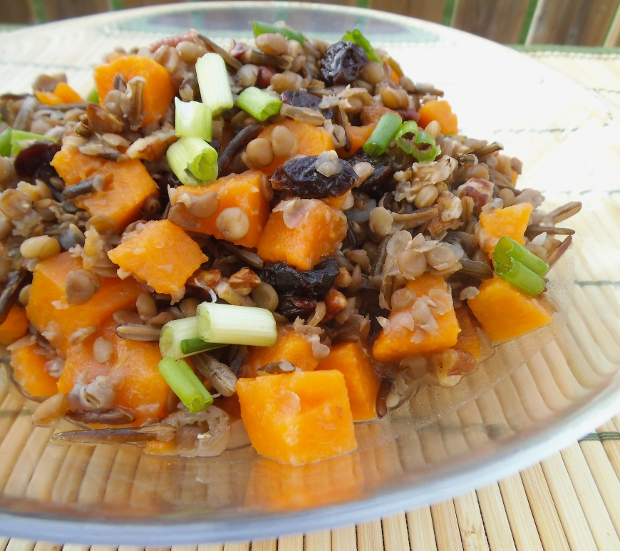 Lentil, Wild Rice, and Sweet Potato Salad with Orange Pecan Dressing