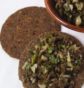 Buckwheat Lentil Crackers with Olive Tapenade