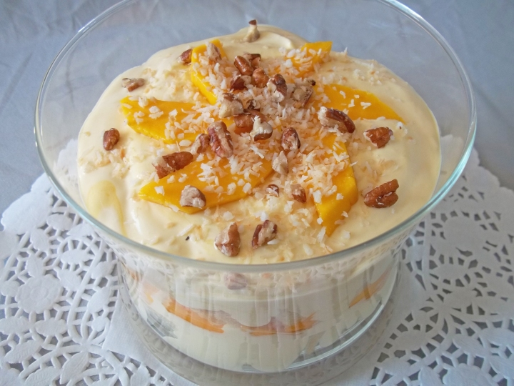 Mango Trifle with Coconut and Pecans