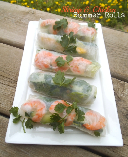 Shrimp and Chicken Summer Rolls with Peanut Sauce