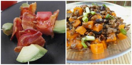 Bacon Avocado Tomato Kebabs + Sweet Potato and Lentil Salad