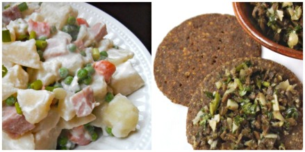 Rainbow Potato Salad + Tapenade and Buckwheat Crackers (gluten-free)