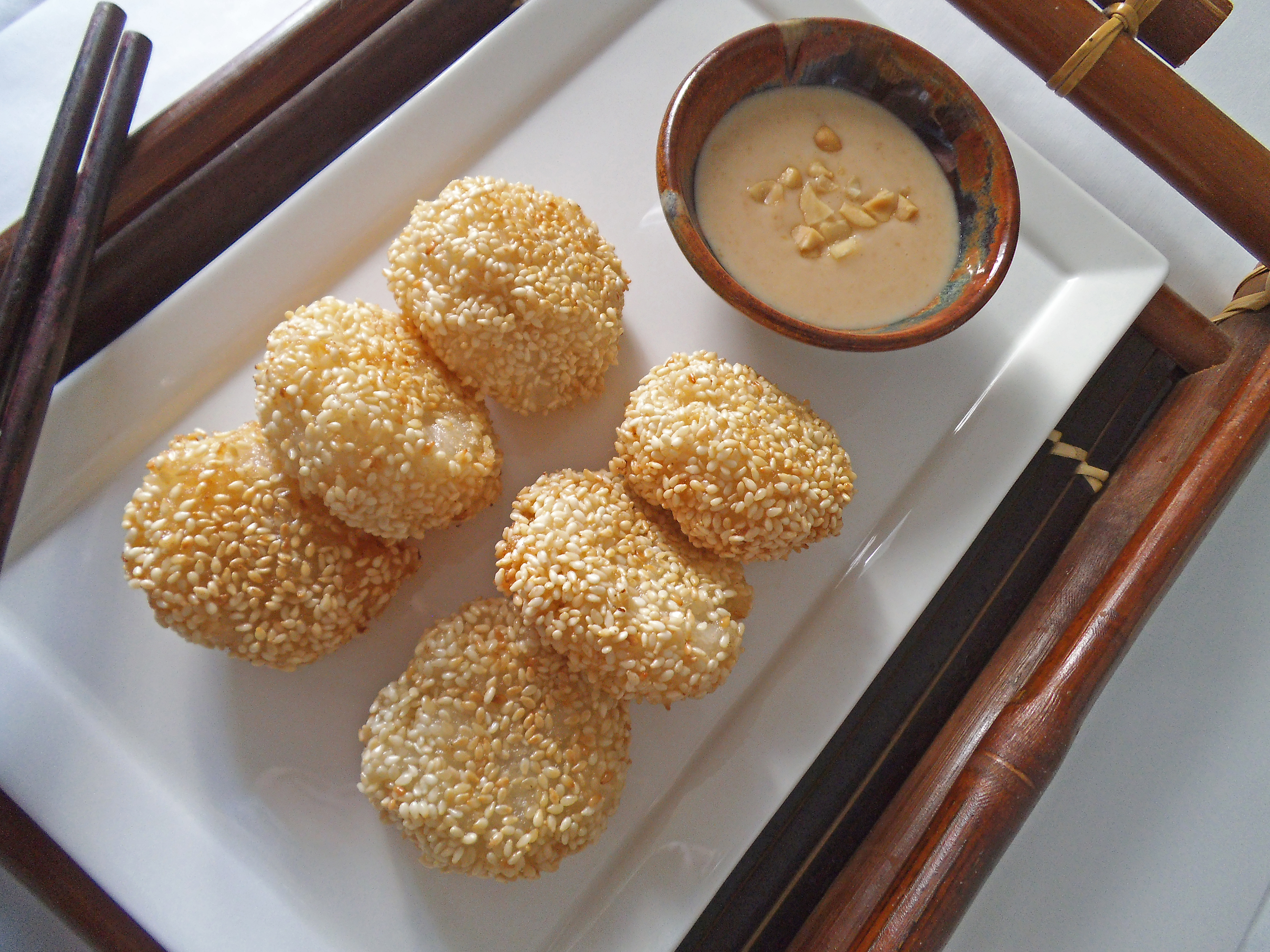 Sesame Sticky Rice Cakes with Banana | Swirls and Spice