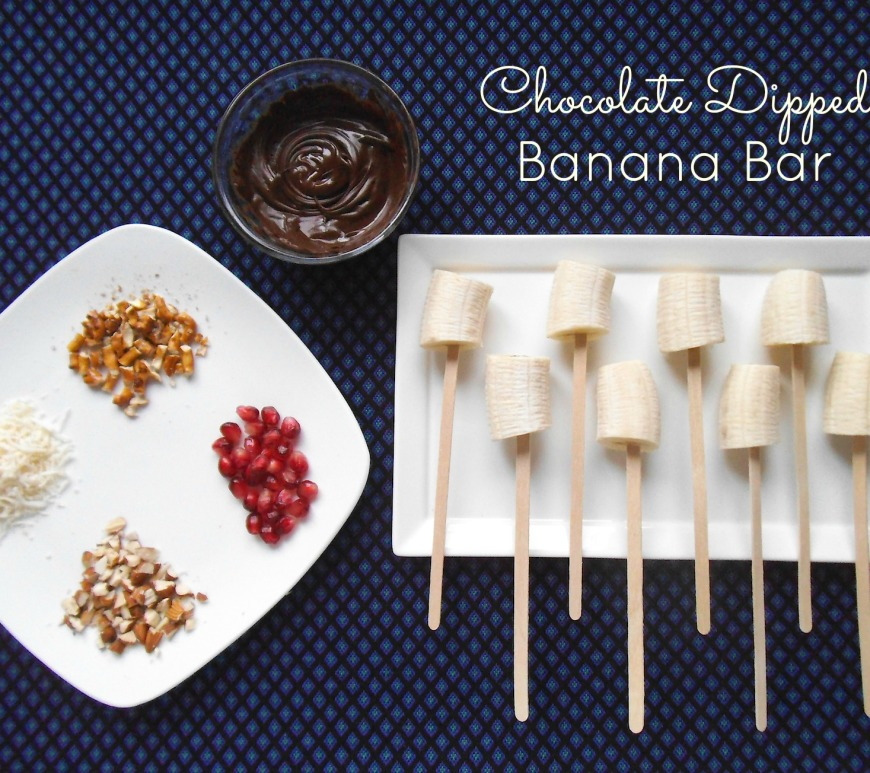 Chocolate Dipped Banana Bar with Toppings