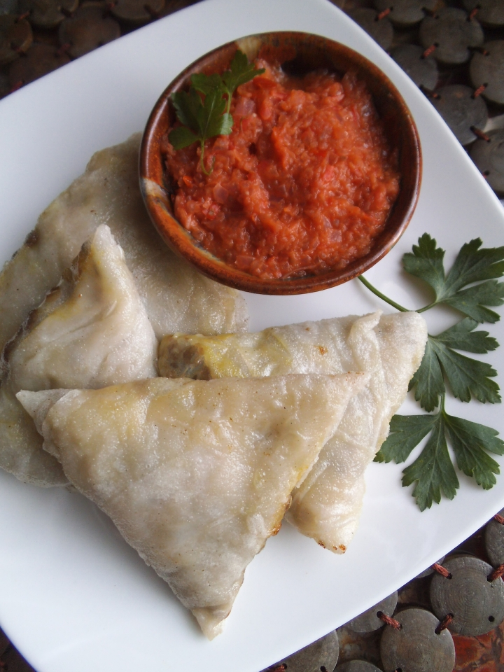 Lentil Samosas with Tomato Onion Chutney