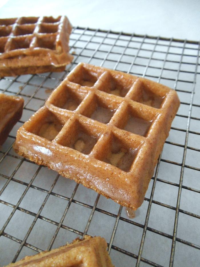 Apple Cider Waffles with Cinnamon Glaze