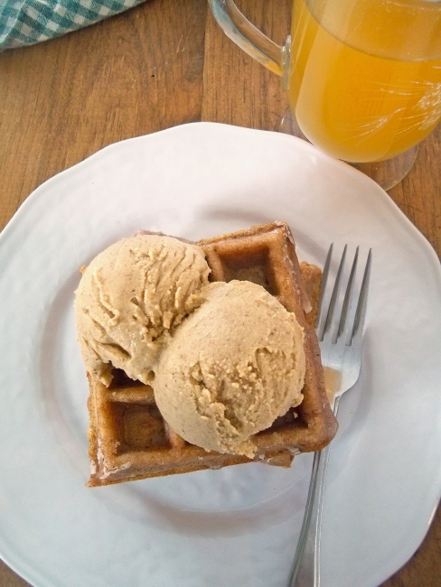 Apple Cider Waffles with Pumpkin Ice Cream