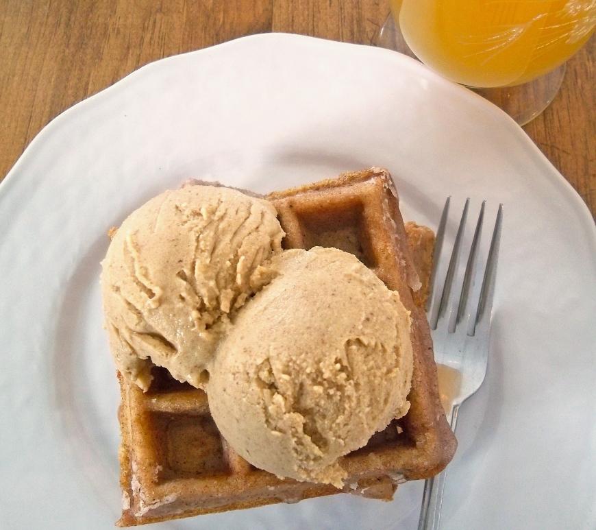 Apple Cider Waffles with Pumpkin Ice Cream