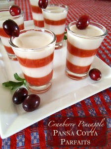Cranberry Pineapple Panna Cotta Parfait Shots | Swirls and Spice