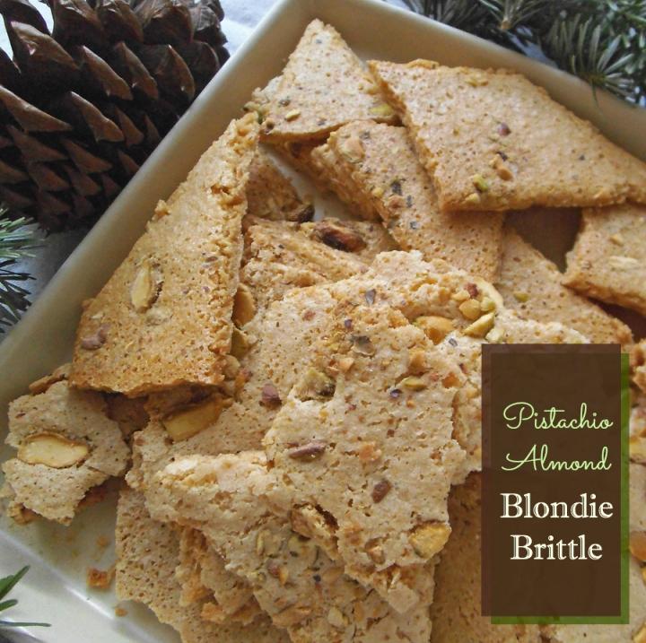 Pistachio Almond Blondie Brittle  {Gluten Free}