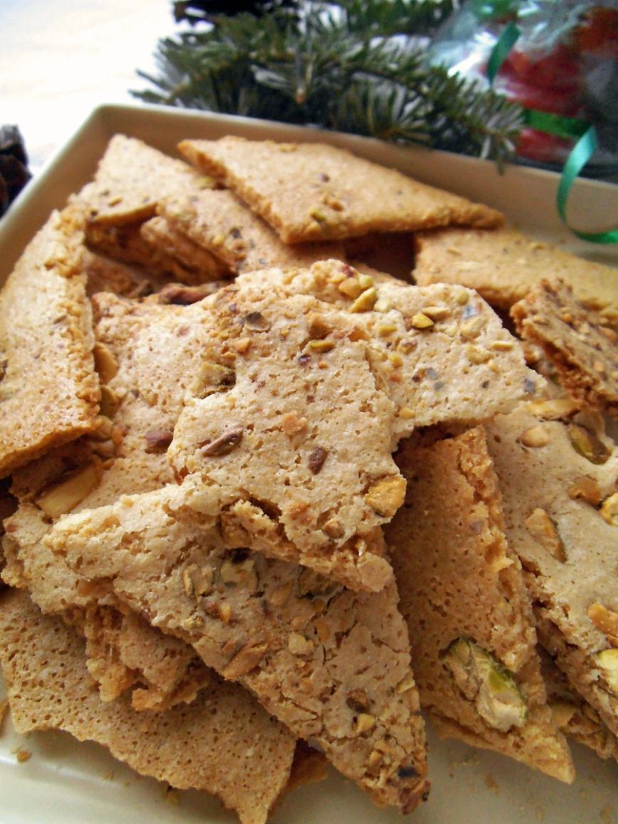 Pistachio Almond Cookie Brittle {Gluten Free} | Swirls and Spice