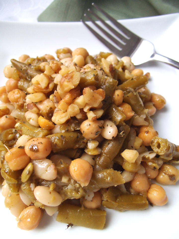 Pesto-Dressed Three Bean Salad| Swirls and Spice