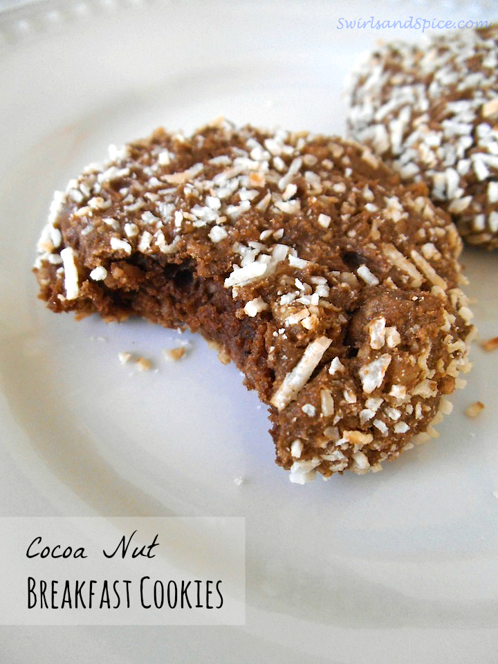 Cocoa Nut Breakfast Cookies | Swirls and Spice
