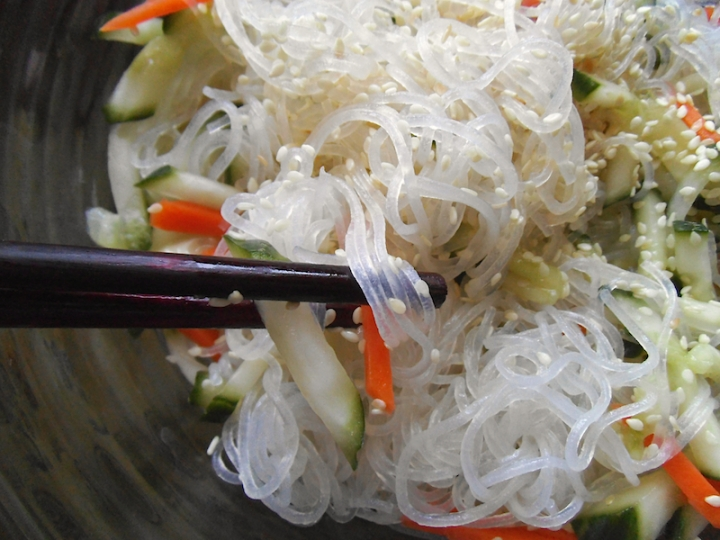 Glass Noodle Salad with Cucumber and Sesame | Swirls and Spice