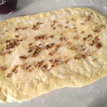 Step 1: Spread with butter, honey and nuts.