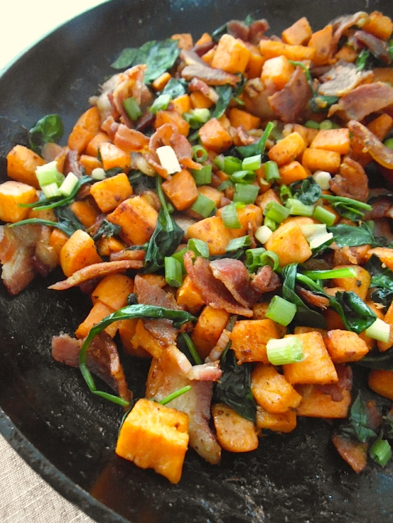 Sweet Potato Skillet with Bacon and Greens | Swirls and Spice
