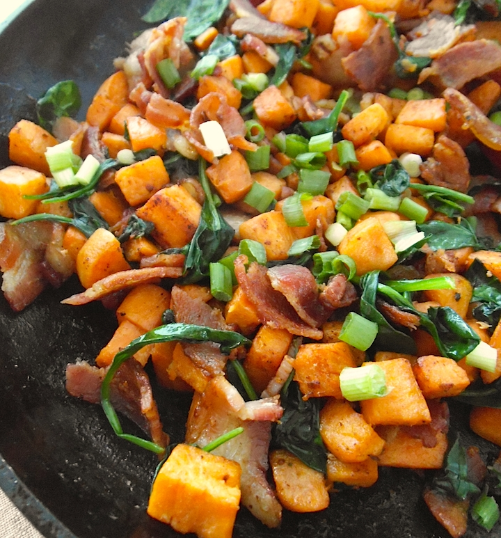 Sweet Potato Skillet with Bacon and Greens   Swirls and Spice