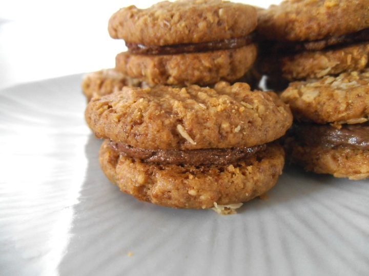 Peanut Butter Cookie Sandwiches with Chocolate Filling | Swirls and Spice