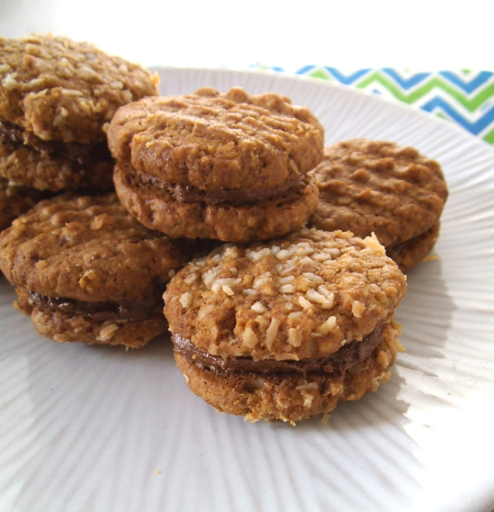 Chocolate Filled Peanut Butter Cookie Sandwiches {GF}