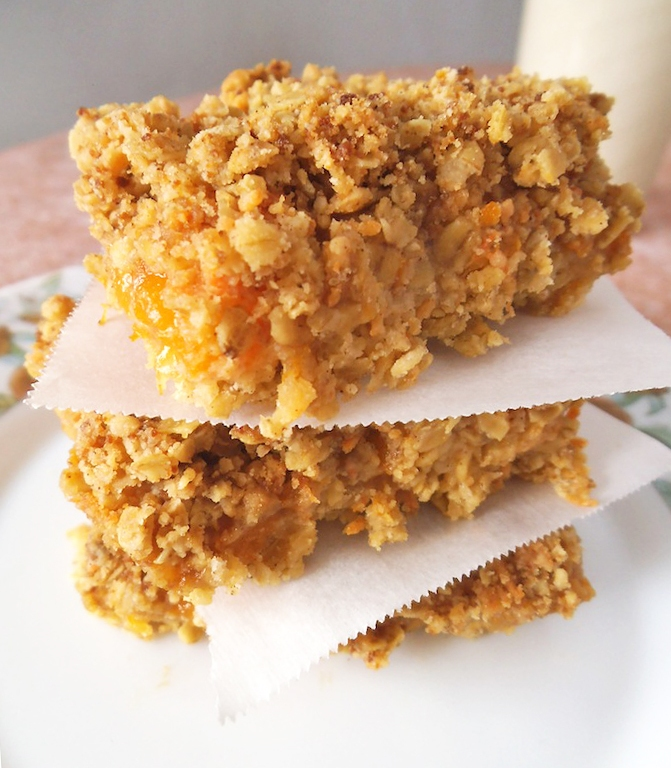 Peach Spice Oat Bars | Swirls and Spice